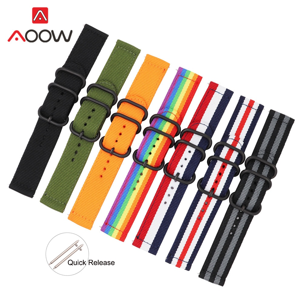 TEAROKE NATO Armband Nylon Band Schwarz Ring Schnalle 18mm 20mm 22mm 24mm Gestreiften Ersatz Uhr Band für Samsung S3 Huawei