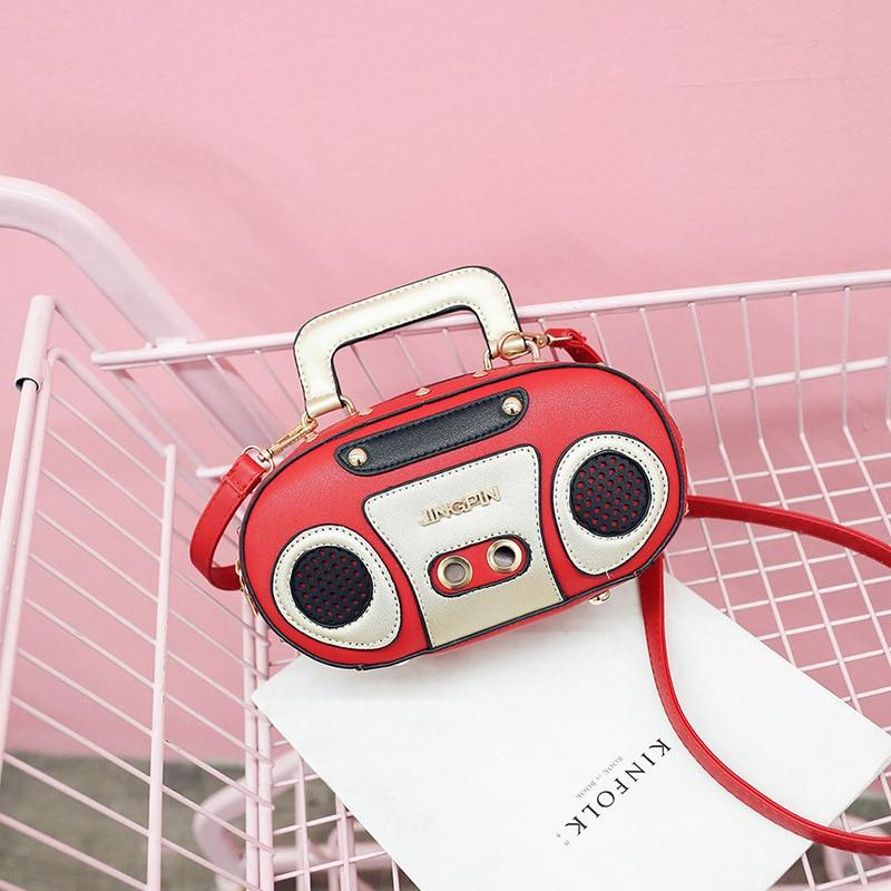 Personalidade de rádio do vintage bolsas femininas meninas pequena bolsa feminina couro do plutônio sacos ombro crossbody bolsa mensageiro d672