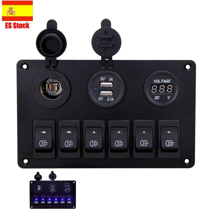 12V 24V cargador de coche USB Dual Port 6 LED azul interruptor de palanca para panel de circuito interruptor de coche Marina barco camión interruptor de palanca