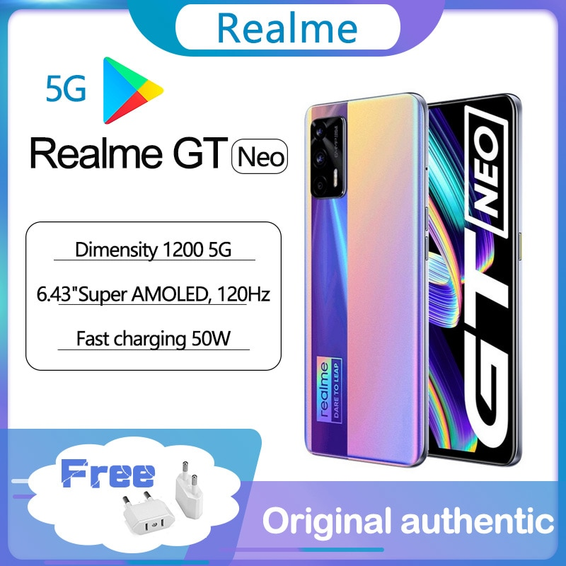 Оригинальный realme GT Neo 5G смартфон 6,43 дюйм 120 Гц Super AMOLED MTK Deminsty 1200 50 Вт 4500 мА/ч, быстрая зарядка 64MP Камера WI-FI 6 NFC