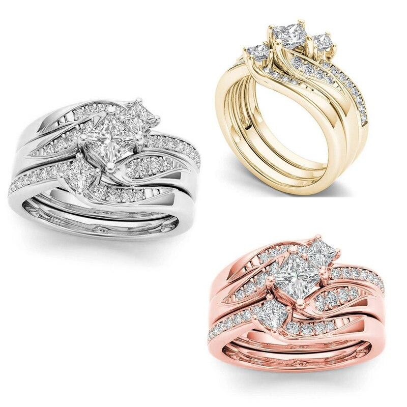 Exquisito conjunto de anillo de novia femenino de moda/anillo de boda joyería promesa anillos de compromiso y amor para las mujeres Size5-11