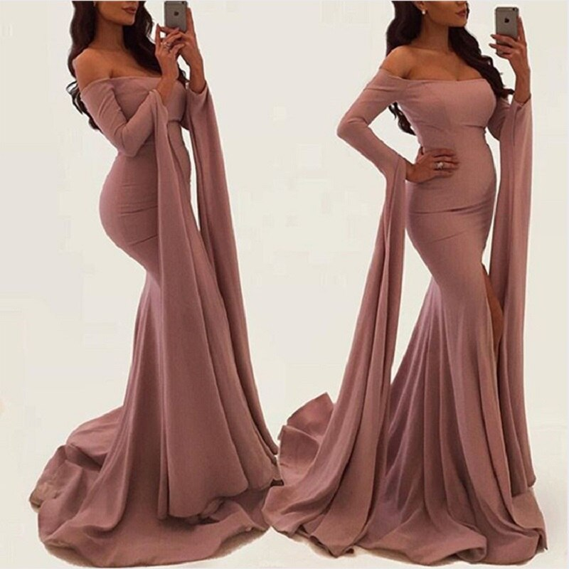 Pink Women Evening Dresses Elegant Long Sleeve Prom Gowns Ladies Party Dresses