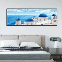modern nordic greece santorini aegean sea views wall art picture canvas painting print poster living room home decor background