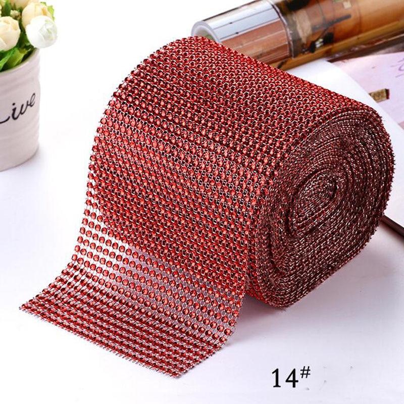 "10 yardas 4,75 ""(12 cm) ancho rojo brillante diamante malla envoltura de cristal strass cinta boda decoración del hogar Accesorios DIY"
