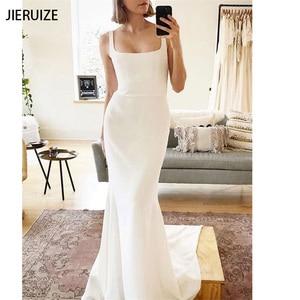 JIERUIZE White Mermaid Backless Wedding Dresses Buttons Boho Simple Bridal Wedding Gowns Vestido De Novia