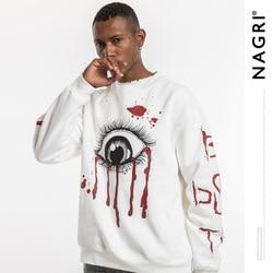 Nagri europa e américa mens wear popular marca deus do sangue-oculares manga longa outono e inverno mangas americano-estilo graff