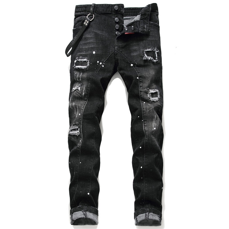 Men's Bottom Denim Pants Black Embroidery Labeling Paint Ripped Holes Wild Maple Leaf Icon Personali