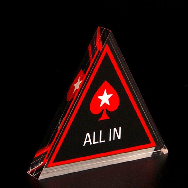 Póquer todo en botón triángulo acrílico todo en botón Texas holdem PokerStars cartas de póker guardia fichas de póquer accesorios de escalada