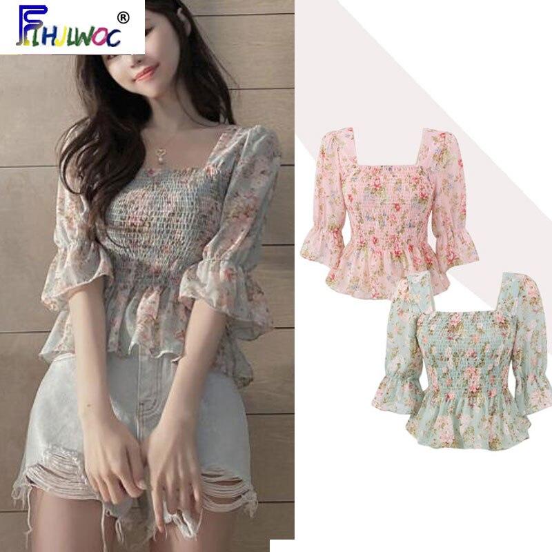 Summer Cute Short Chic Tops Hot Sales Women Korean Japanese Flhjlwoc Style Design Pink Floral Ruffled Vintage Peplum Top Blouse