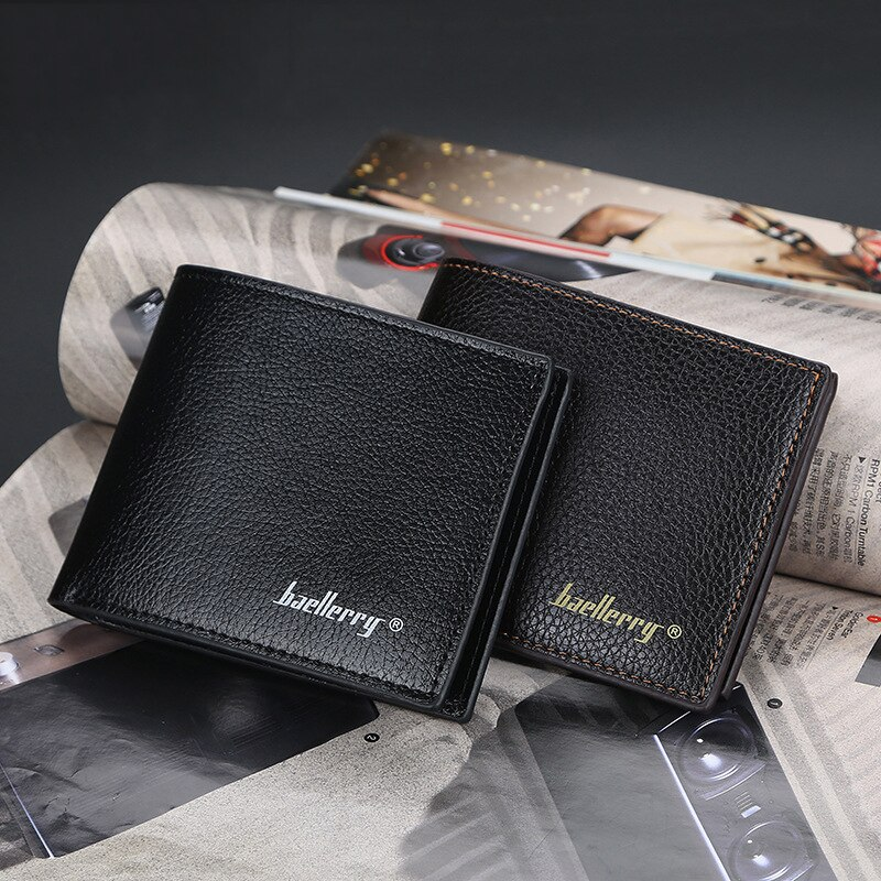 Men Short Wallet Bifold Faux Leather Money Purse Clutch Card Holder Male Solid Business Slim Wallets
