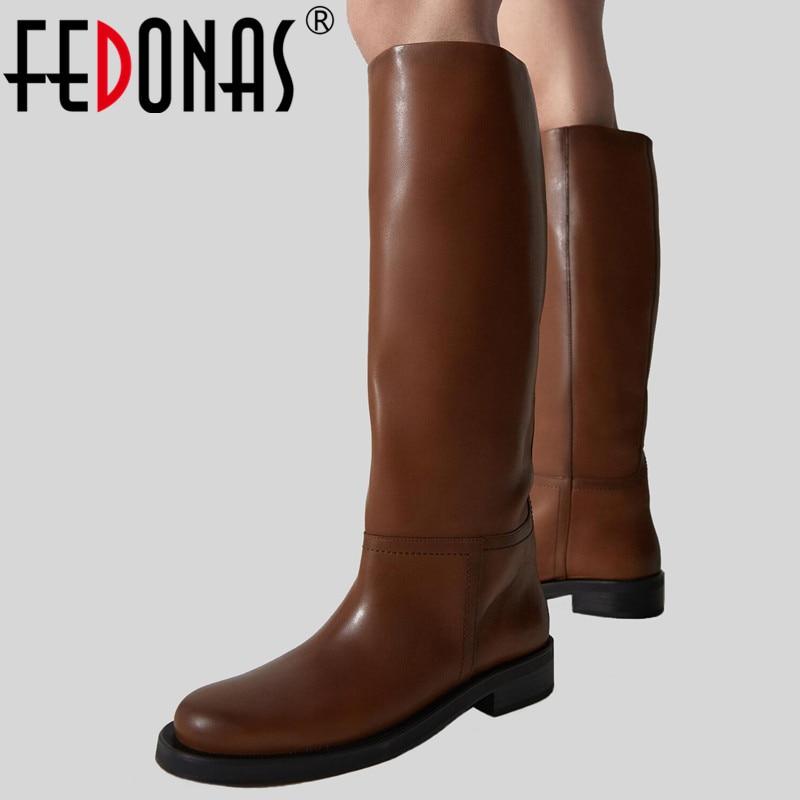 FEDONAS INS ZA النساء حذاء برقبة للركبة جلد البقر الكامل الأحذية الدافئة سميكة عالية الكعب دراجة نارية الأحذية فاسق أحذية امرأة أحذية عالية