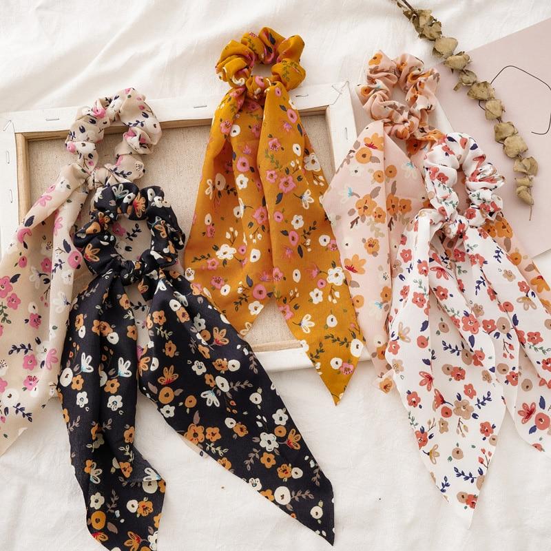 Bufanda de cola de caballo de primavera goma elástica para el pelo para mujeres Streamers con estampado Floral lazos para el cabello bandas para el cabello Accesorios