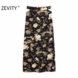 Zevity moda feminina cintura cortada cópia da flor lado dividir saia longa faldas mujer senhora chique voltar zíper vestidos casuais qun702