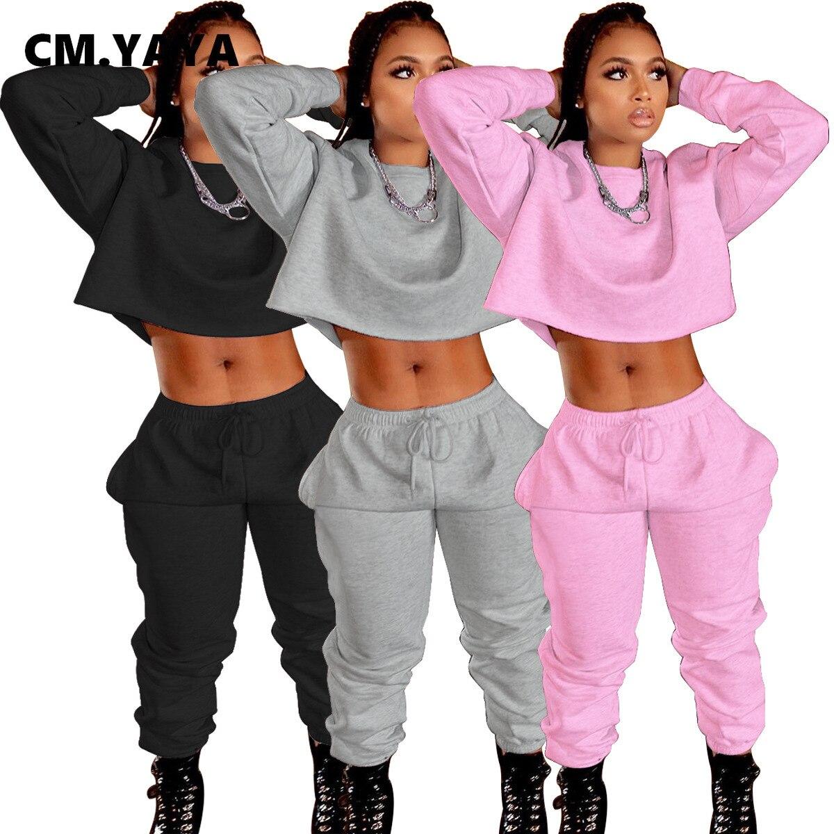 Cm. Yaya Actieve Fleece Sweatsuit Twee 2 Delige Set Voor Vrouwen Winter Fitness Outfit Sweatshirt + Jogger Broek Set Trainingspak