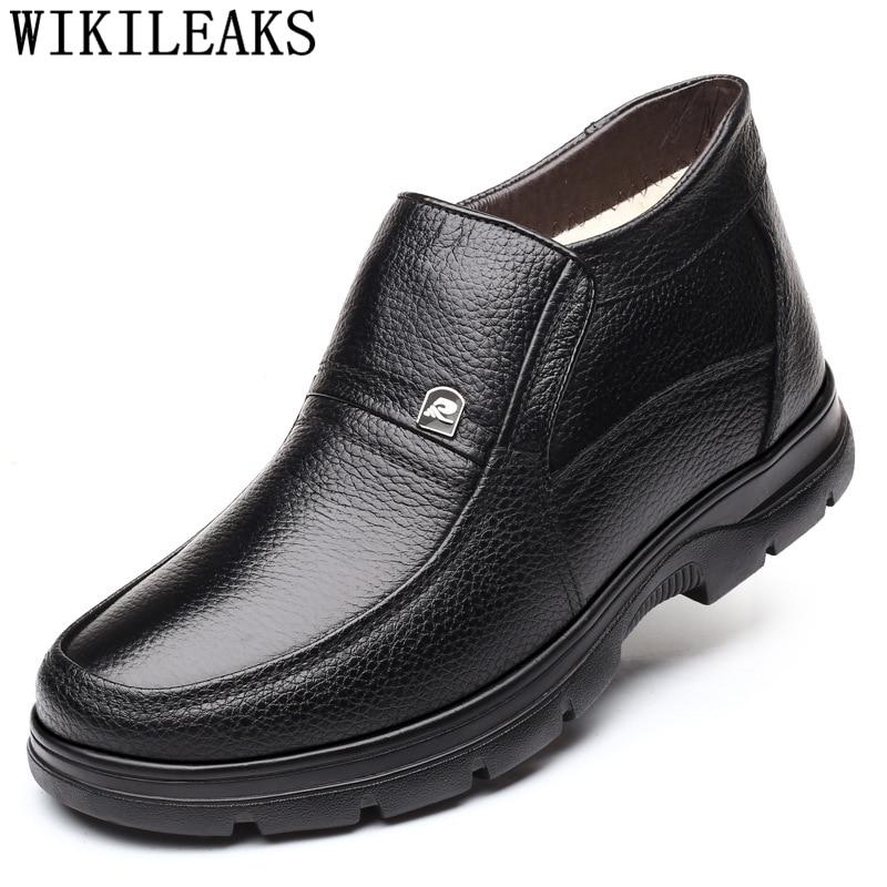 Hombres botas de nieve de cuero genuino botas tobillo botas zapatos de...