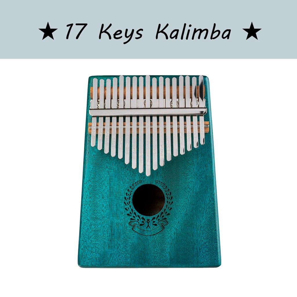 Kalimba 17 Keys Thumb Piano Solid Wood Portable Mahogany Wooden African Kalimba Finger Piano Keyboard Instrument