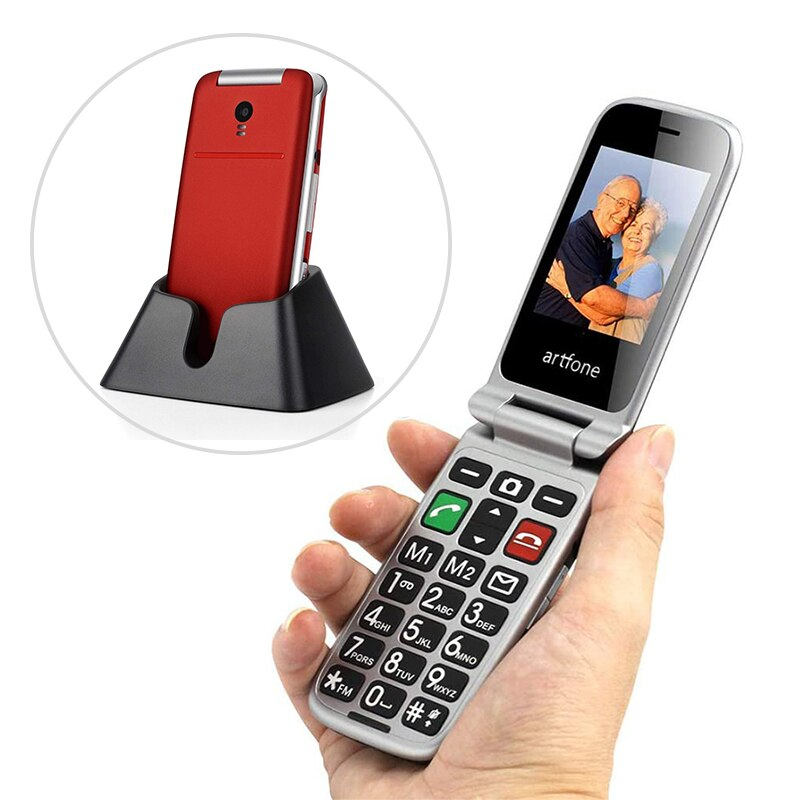 """artfone CF241A Flip Big Button Mobile Phone,Senior phone with charging cradle and 2.4"""" Large Screen for Elderly"""