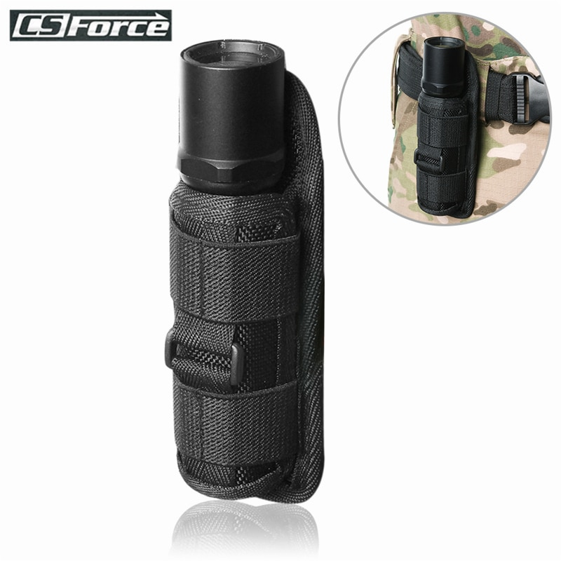 Outdoor Tactical Flashlight Pouch Holster 360 Degree Rotatable Clip Torch Cover for Belt Flashlight