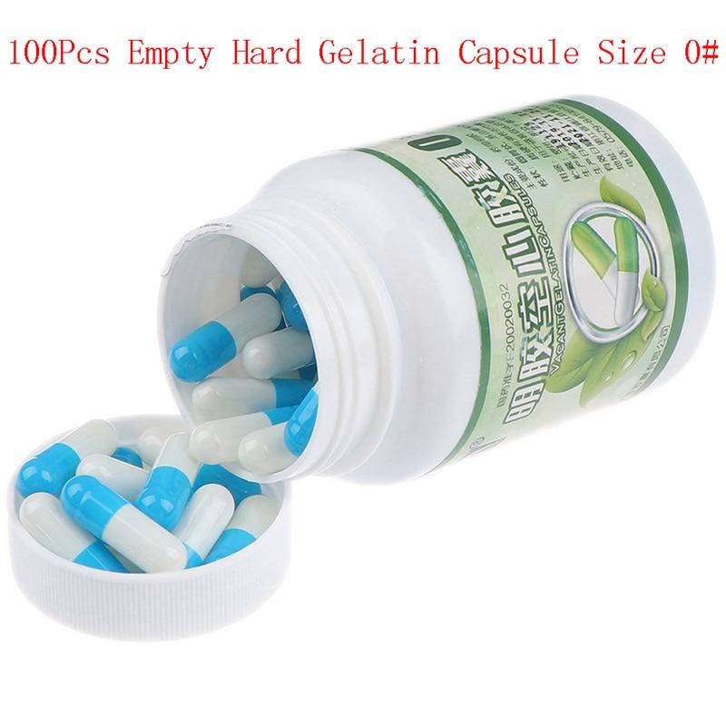 100Pcs/Bottle Empty Hard Gelatin Capsule Size 0# Gel Medicine Pill Vitamins Personal Health Care Pill Cases Splitters