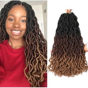 """18 """"джипси"""" Locs накладные волосы на крючке, богиня искусственные локоны в стиле Crochet волос эффектом деграде (переход от темного к Nu Locs вязание к..."""