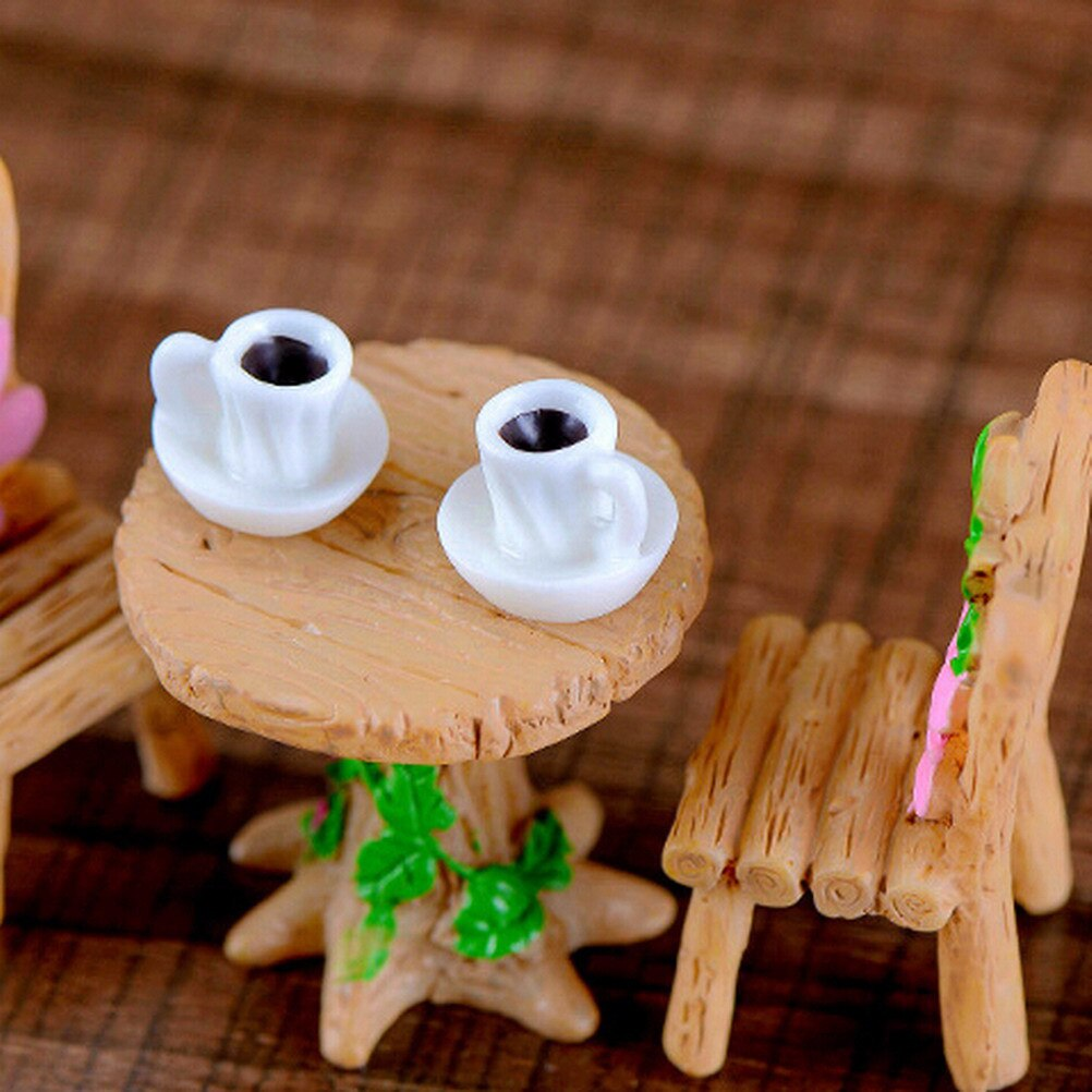 Mini taza de modelo de té miniatura estatuilla accesorios de decoración para jardín de Casa Decor arte Figura de plástico