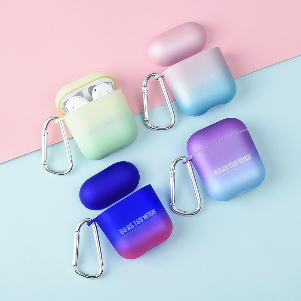 Funda de auriculares Bluetooth gradiente inalámbrico para Apple AirPods delgada caja de carga dura funda de auriculares funda protectora