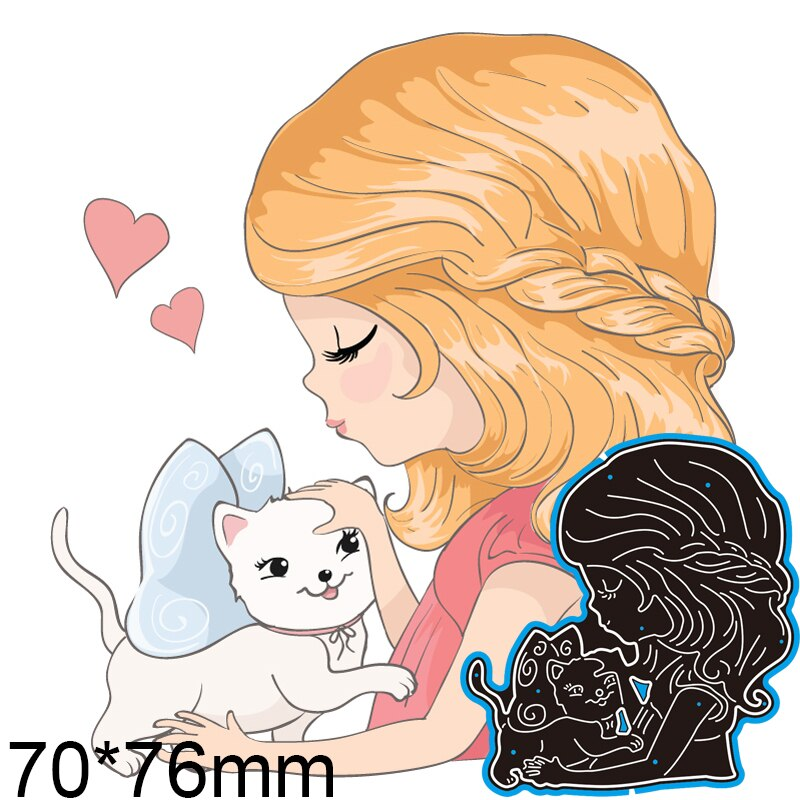 70*76mm Loving Girl and Cat Metal Dies New Stencils DIY Scrap Booking Paper Cards Craft Making Decoration