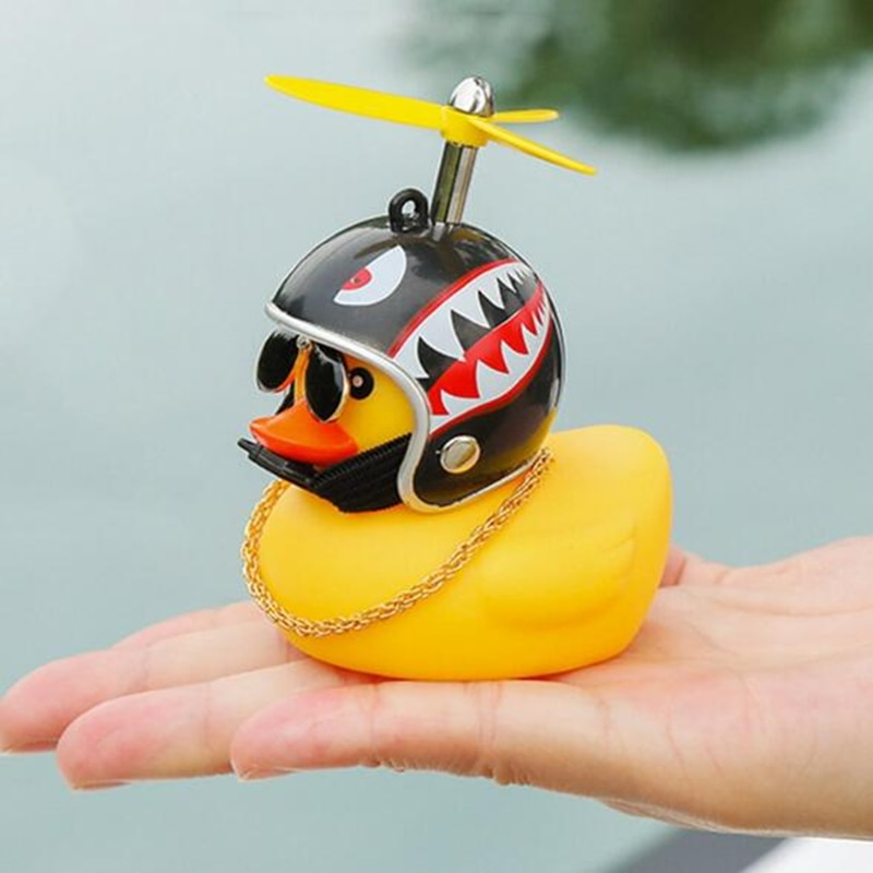 1Pc Cute Helmet Little Yellow Duck with Glue Rubber Duck Kids Accessories Room Car Baby Shark Toy Or