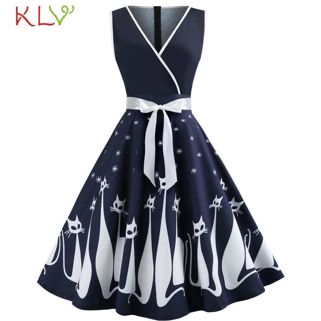 Vestido vintage feminino gato impressão arco vestido de verão elegante festa bonito balanço mini vestidos casuais 2020 plus size roupas vestidos 19dc