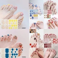 peel off nail decoration manicure nail full wraps 22 tips toe nail sticker 3d nail flower foils