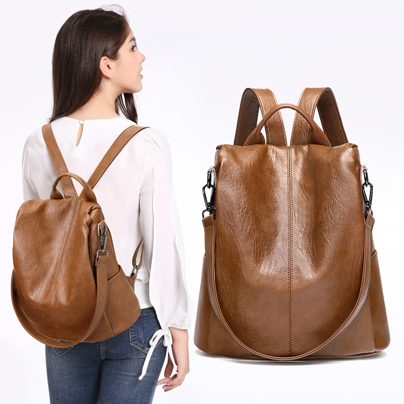 Women's Backpack Genuine Leather Anti-theft Fashion Casual School Girl Purse Bags Outdoor Travel Des