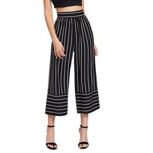 Nueva moda mujer señoras rayas tobillo longitud Leggings Jeggings Stretchy Bell-bottom pantalones de pierna ancha de cintura alta