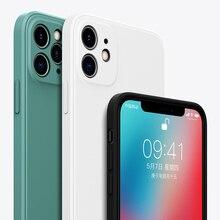 Luxe Vloeibare Siliconen Case Voor Iphone 11 Pro Max Xs Se 2020 Xr X R 7 8 Plus SE2 2 IPhone11 Telefoon Zachte Lijn Vierkante Silicon Cover