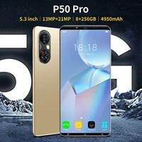 hot sell p50pro cheap hd smartphone 5 3inch 8256gb face fingerprint unlock dual sim andriod 11 1321mp camera 10 core mtk6889