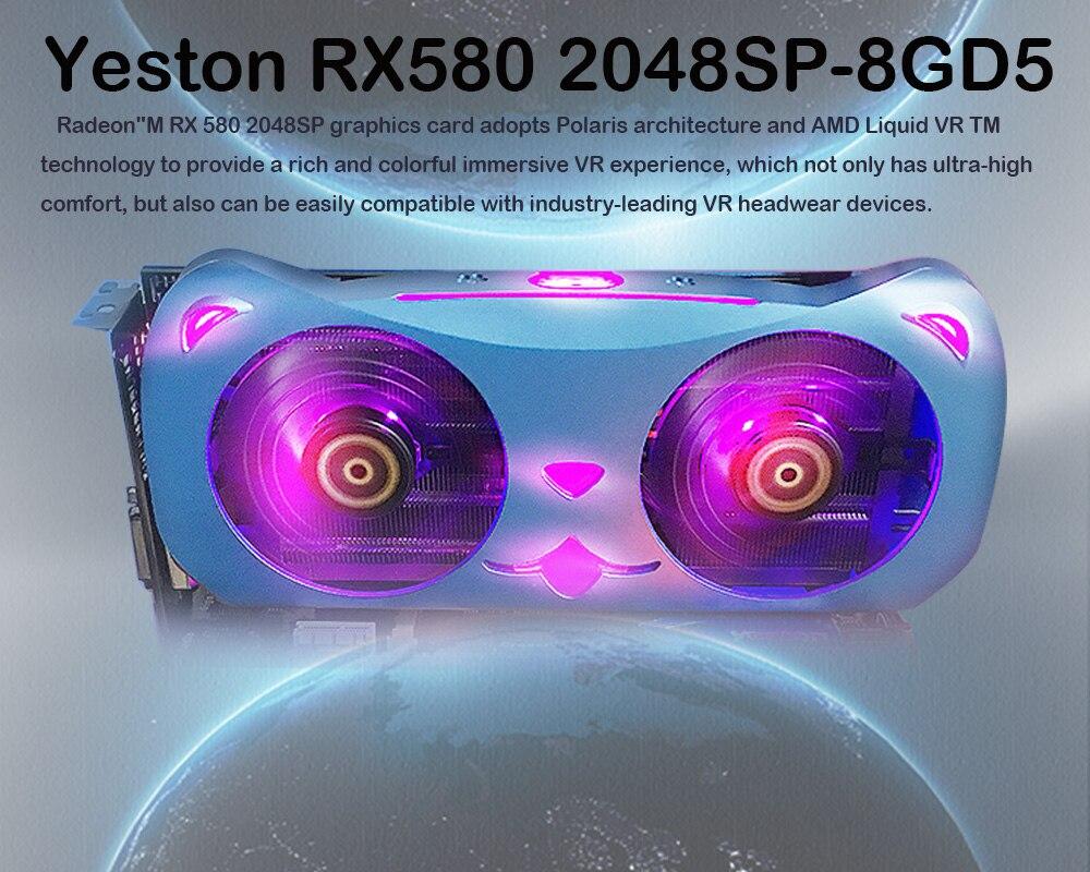 Radeon RX590 8G GDDR5 256bit PCI Express x16 3.0 carte graphique de jeu vidéo DVI + HDMI + 3 * DP pour ordinateur de bureau