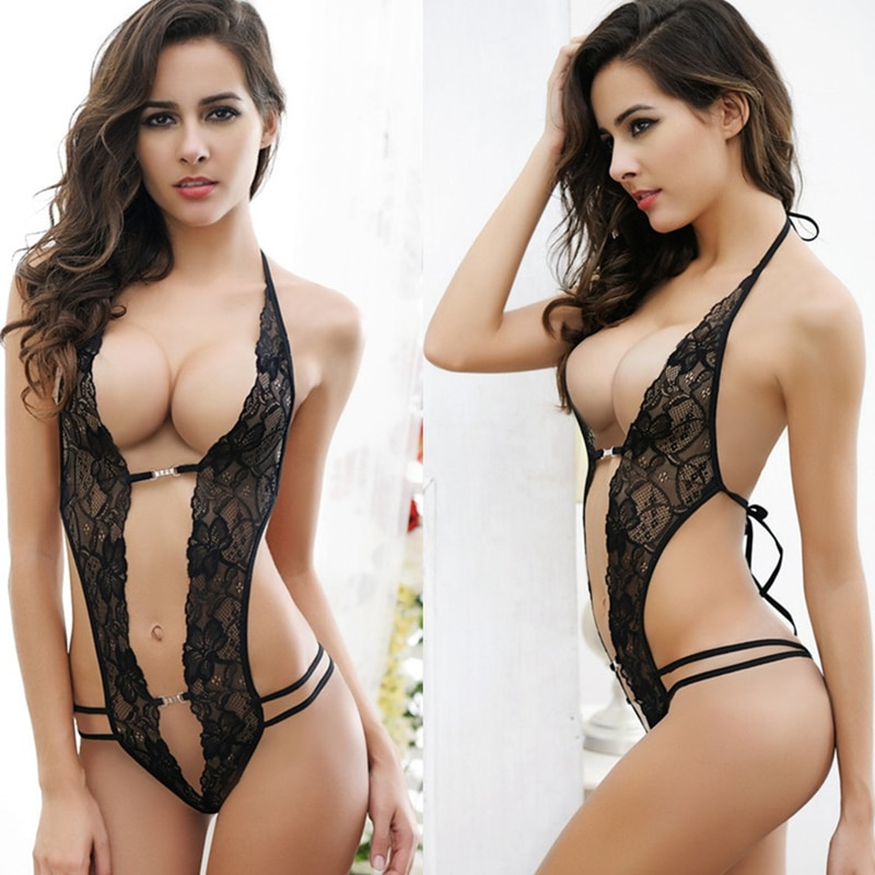Valentine's day sexy lingerie hot erotic lace deep v neck teddy sexy erotic underwear lingerie lence