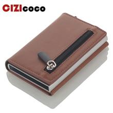 Cizicoco crédit porte-carte 2020 nouvelle boîte en aluminium carte portefeuille RFID PU cuir Pop Up carte étui aimant en Fiber de carbone porte-monnaie