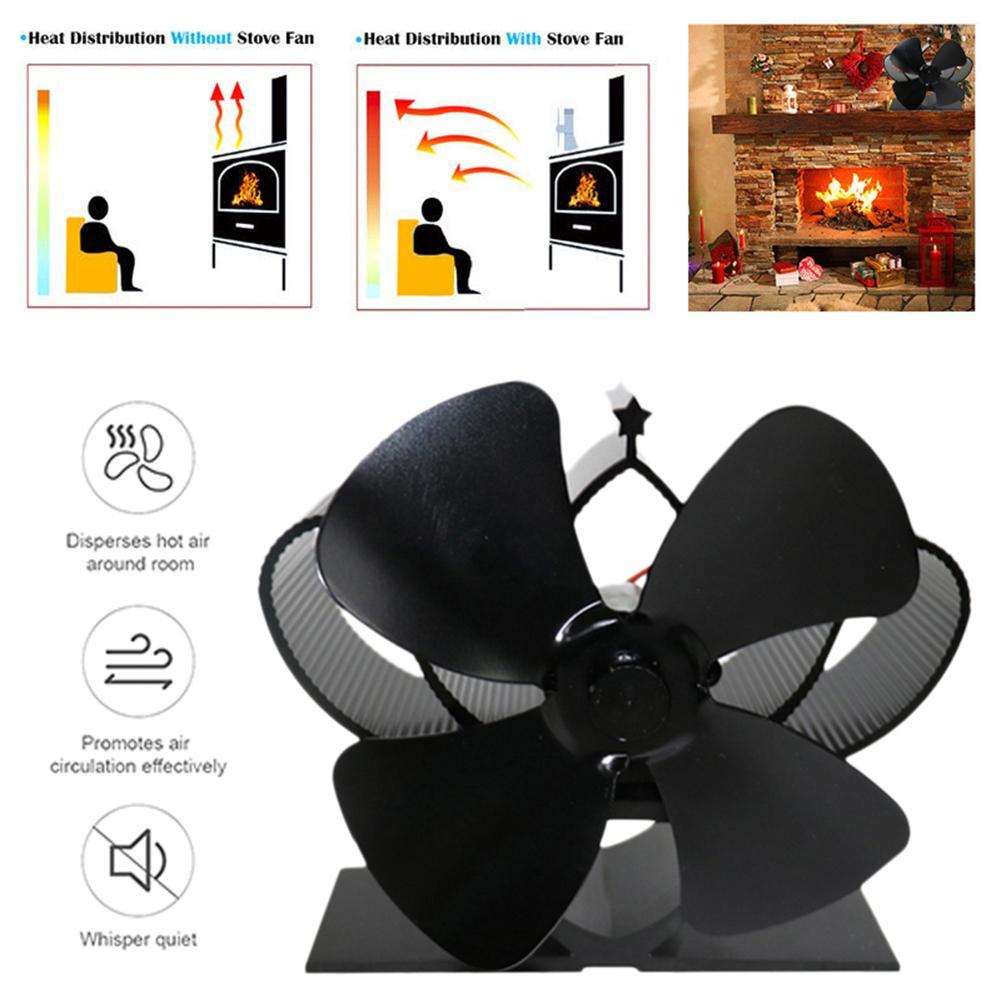 Ventilador para hogar negro de 4 aspas, estufa de calor con ventilador, quemador de leña, ventilador silencioso respetuoso con el medio ambiente, distribución eficiente del calor en el hogar