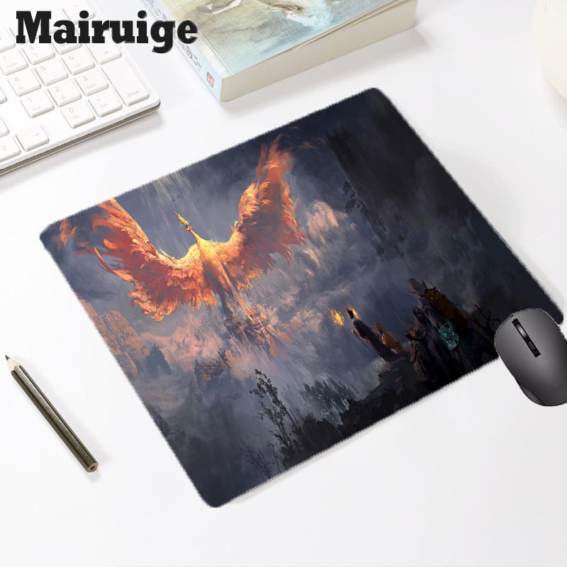 Mairuige Phoenix Pattern Gaming Accessories Office Computer Laptop Rubber Small Mouse Pad Keyboard Mice Pad Writing Mat Desk Mat