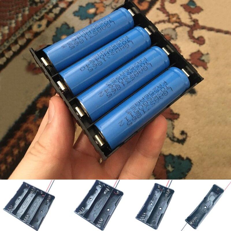 Черный пластик 1x2x3x4x18650 чехол для аккумулятора 1 2 3 4 слота DIY зажим для батарей держатель Контейнер с проводом свинцовая шпилька