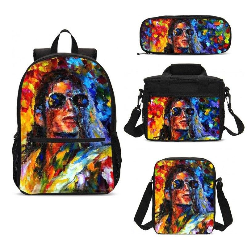 Bolsas escolares de Michael Jackson, mochila escolar de impresión de moda para niños, juego de mochilas escolares, mochila para niños con caja de nevera, caja de lápices