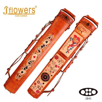 JFLOWERS Billiard Case 6 Holes 2 Butt 4 Shaft Genuine Leather Carrying Case 85*10*13cm Oval Embroidery Bag Billiard Accessories