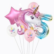 7Pcs/set Rainbow Unicorn Party Balloons 32inch Number Foil Balloon Unicorn Birthday Party Decoration