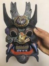 China Buddhism Old Wood Handwork Carve Buddha Head Painted Mahakala Mask Statue
