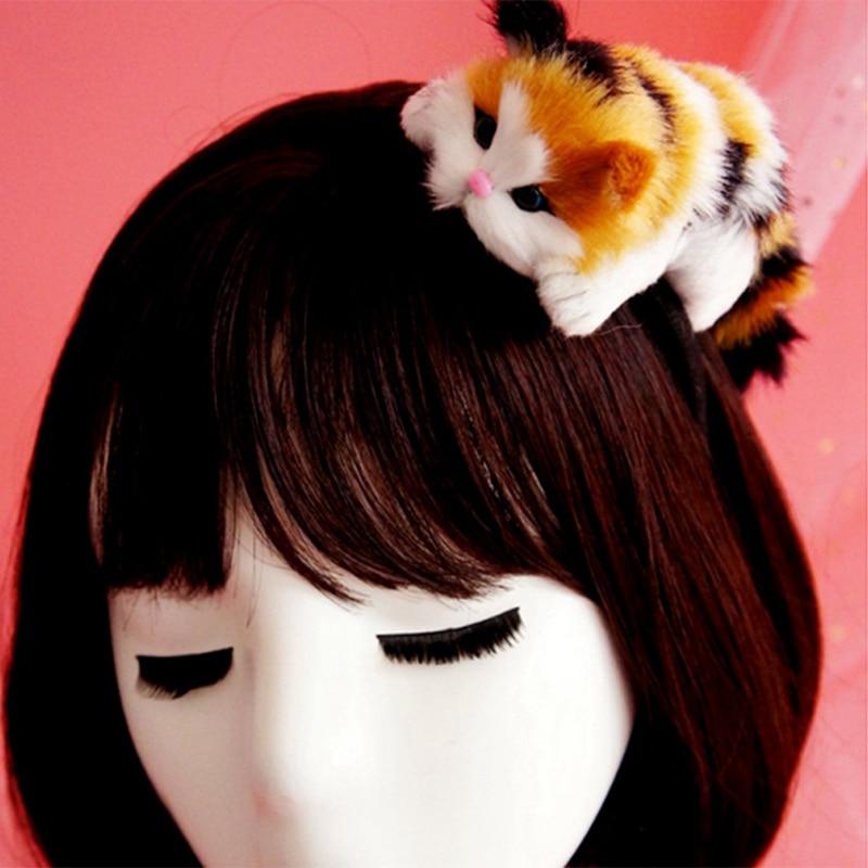 1 diadema de gato 3D bonita japonesa para chicas lindas, diadema de pelo Artificial para gatos, accesorios para el cabello, envío directo