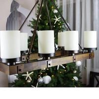 Industrial wind antique Perdant Light American Wooden Round Rectangular Iron Candlestick Chandelier for Restaurant Bar