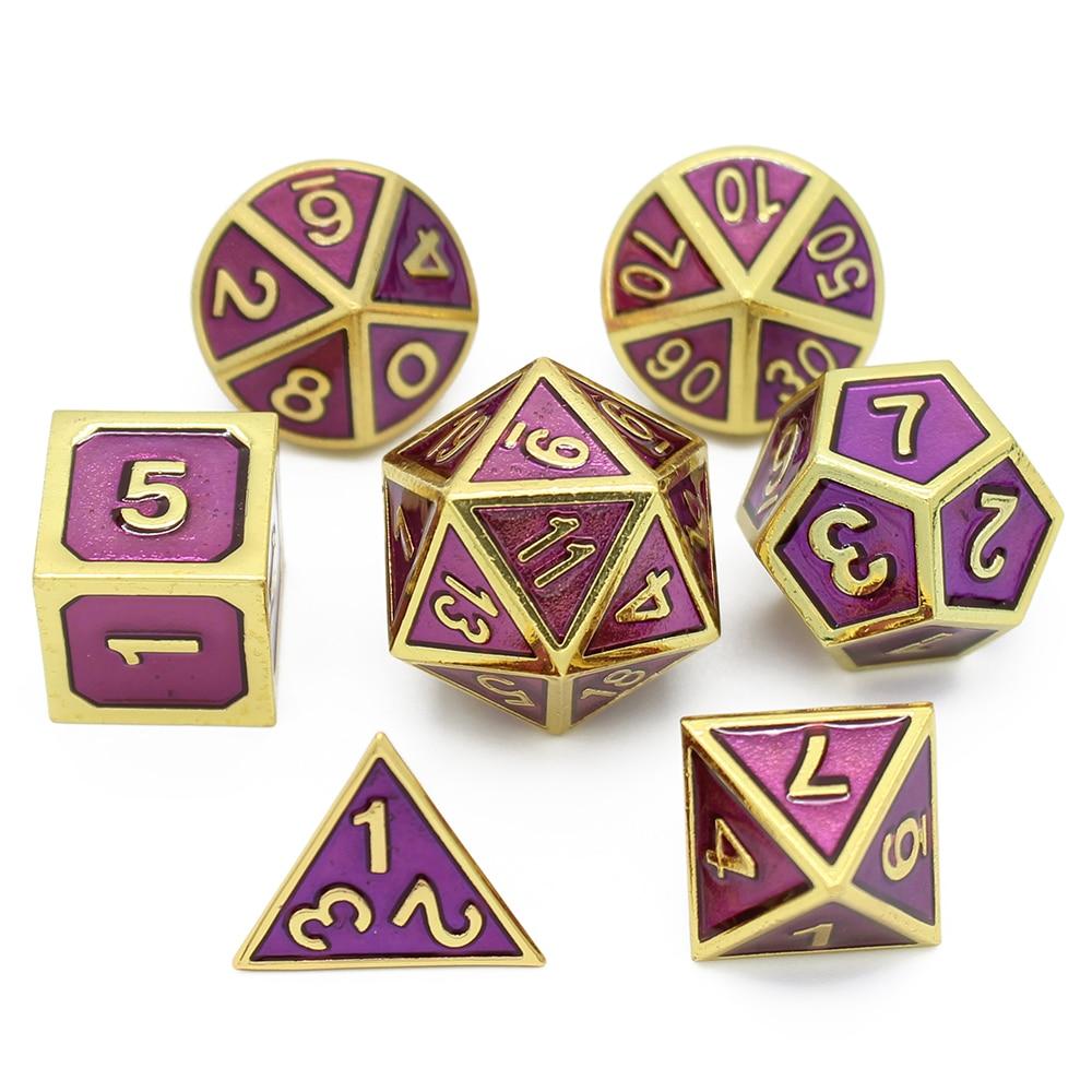 Juego de dados de metal rpg, juego de dados dnd rpg poliédricos, juegos de mesa de dado sólido, dado digital de aleación de Zinc d & d, 7 Uds d4 d6 d8 d10 d12 d20