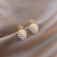 2021 fashion pineapple pearl stud earrings classic geometric pearl earrings for women new