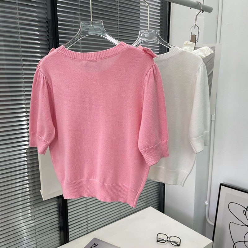 2021 Early Autumn Women's New Knit Sweater Fashion Rest Round Neck Short-Sleeved Bowknot Decorated Wool Blend Knitted Top Ladies enlarge