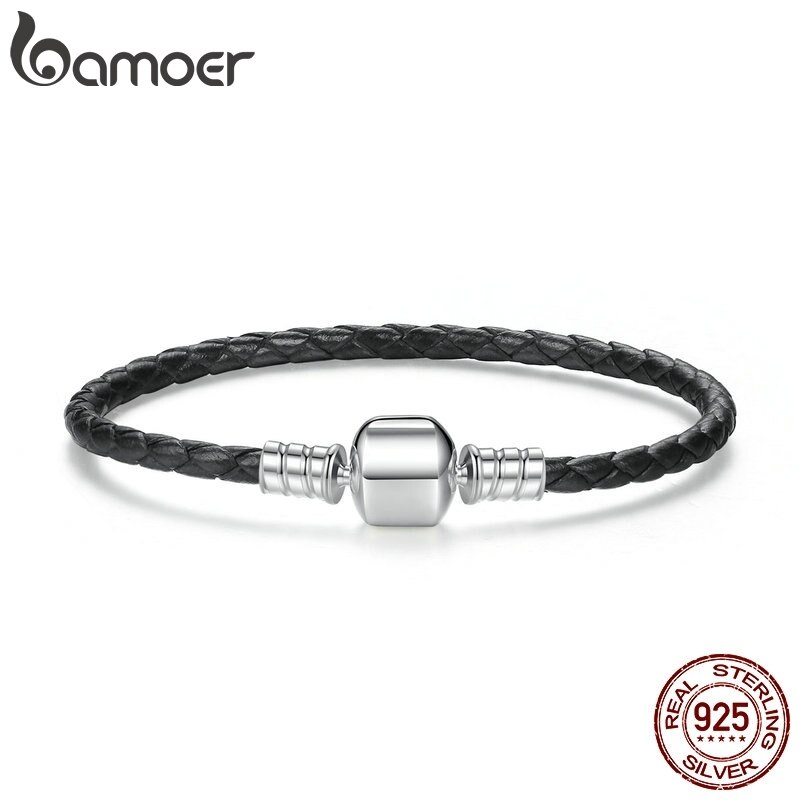 BAMOER Beliebte 925 Sterling Silber Echte Leder Armbänder mit Schlange Kette Unisex DIY Armband Edlen Schmuck PAS911